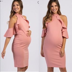 Pinkblush Maternity Ruffle Sleeve Mock Neck Dress